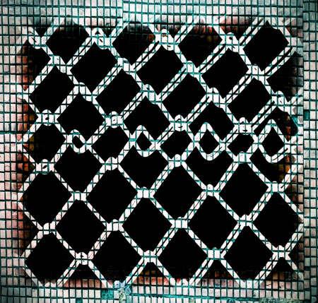 somber:  metallic grate.wall
