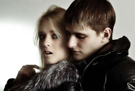 winter couple: Loving couple