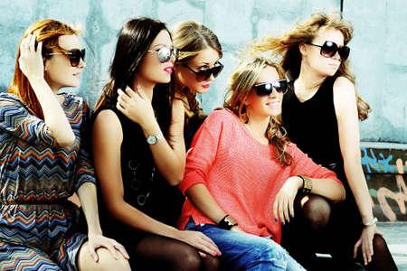 elegance fashion girls look sensuality young: fashionable girls Stock Photo