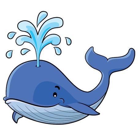 Illustration de baleine de bande dessinée mignon