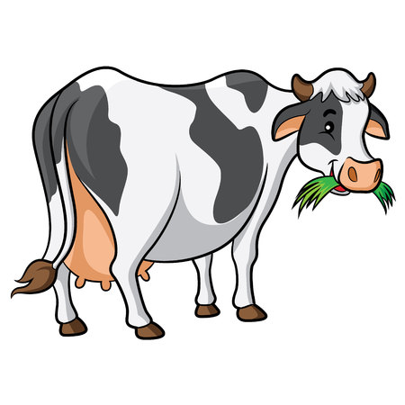 Illustration of cute cartoon cow