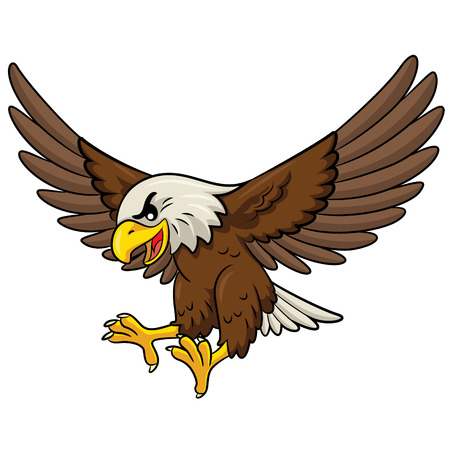 Illustration of cute cartoon eagle. Vectores