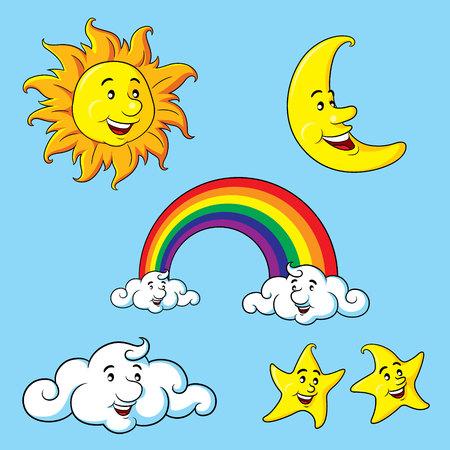 sonne mond und sterne: Sonne, Mond, Sterne, Wolken Regenbogen-Cartoon. Illustration
