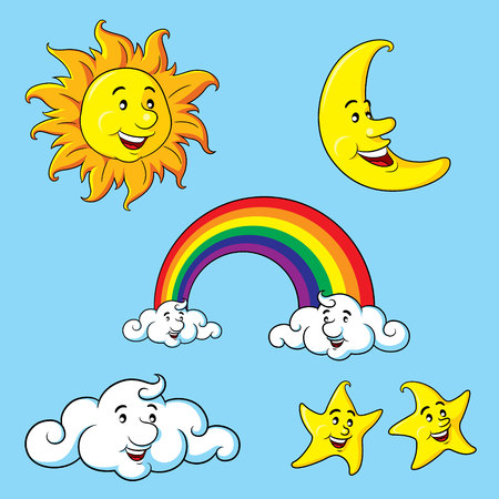 sonne mond und sterne: Sun, moon, stars, clouds  rainbow cartoon.