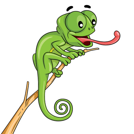 Illustration of cute cartoon chameleon.