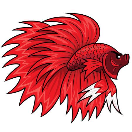 betta: Illustration of cute cartoon betta fish. Illustration
