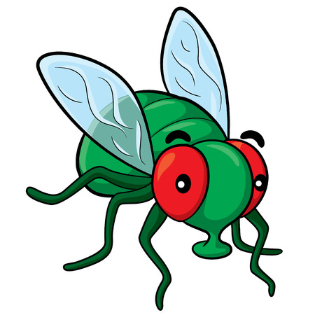 Illustration of cute cartoon fly.