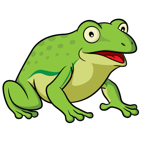 crouching: Illustration of cute cartoon frog. Illustration