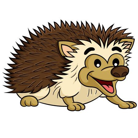 spiked: Illustration of cute cartoon hedgehog. Illustration