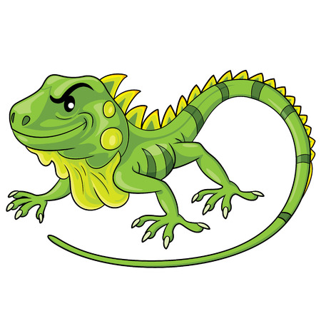 Illustration of cute cartoon iguana. 向量圖像