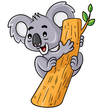 illustration line art: Illustration of cute cartoon koala.