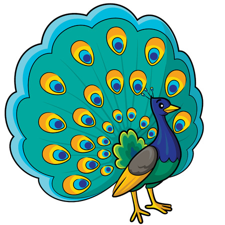 Illustration of cute cartoon peacock.