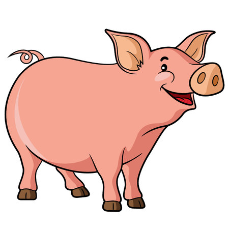 porker: Illustration of cute cartoon pig. Illustration