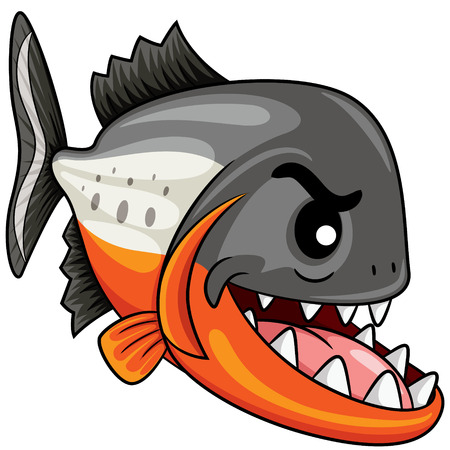 Illustration of cute cartoon piranha.