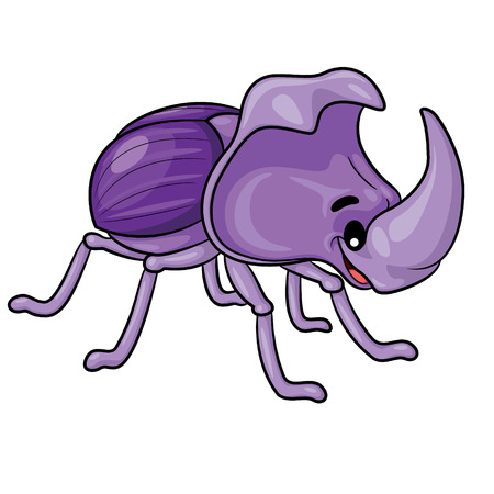 Illustration of cute cartoon rhinoceros beetle.