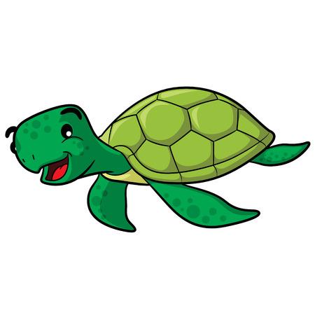 sea turtle: Illustration of cute cartoon sea turtle.