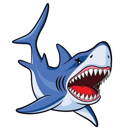 Illustrazione di squalo simpatico cartone animato. Vettoriali