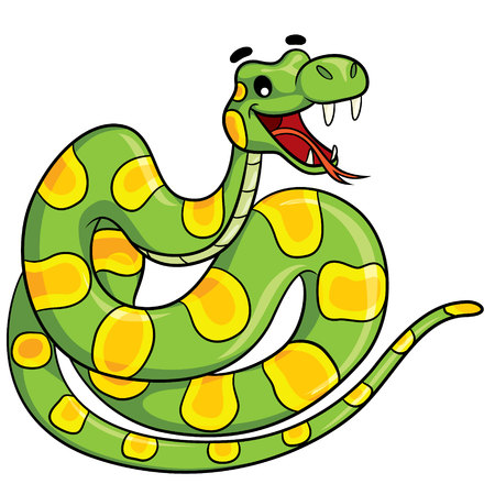 anaconda: Illustration of cute cartoon snake.