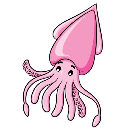 Illustration of cute cartoon squid.