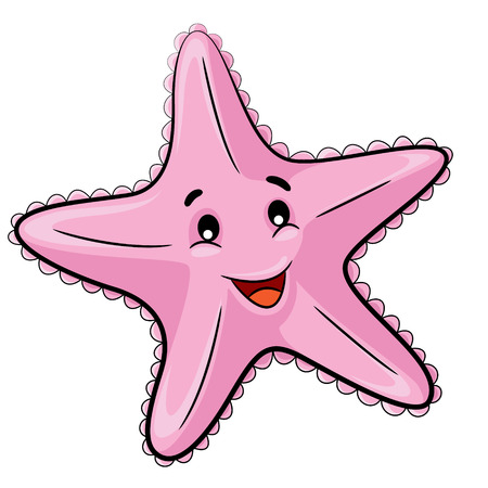 Illustration of cute cartoon starfish.