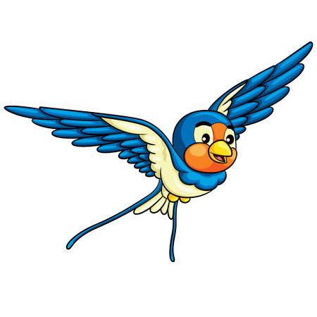 Illustration of cute cartoon swallow.
