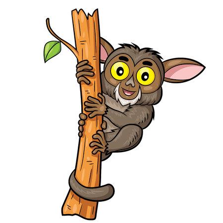pygmy: Illustration of cute cartoon tarsius. Illustration