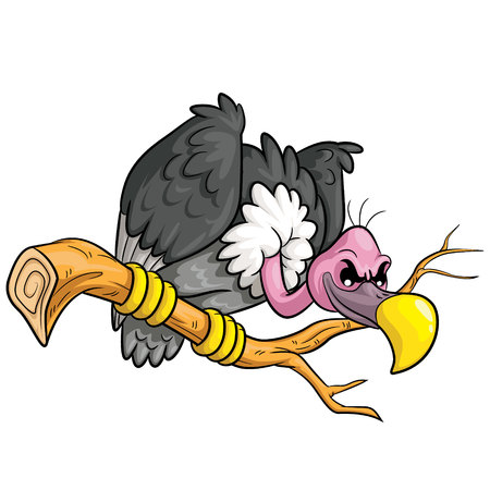 Illustration of cute cartoon vulture.