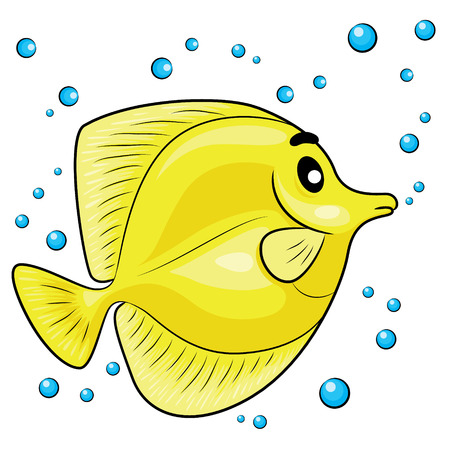 tang: Illustration of Yellow tang fish.