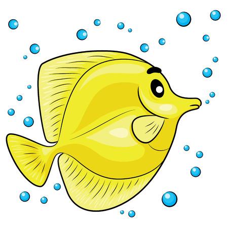 tang: Illustration of Yellow tang fish.