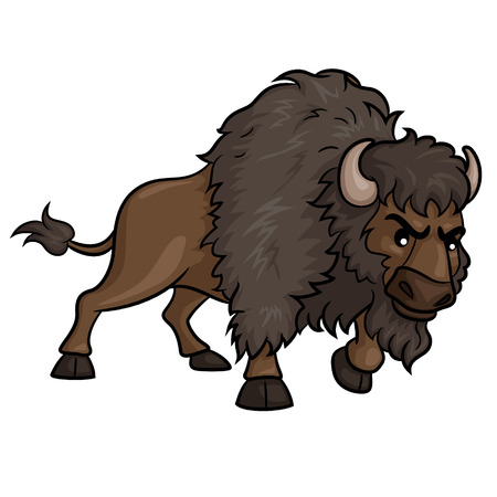 Illustration of cute cartoon bison. Ilustração