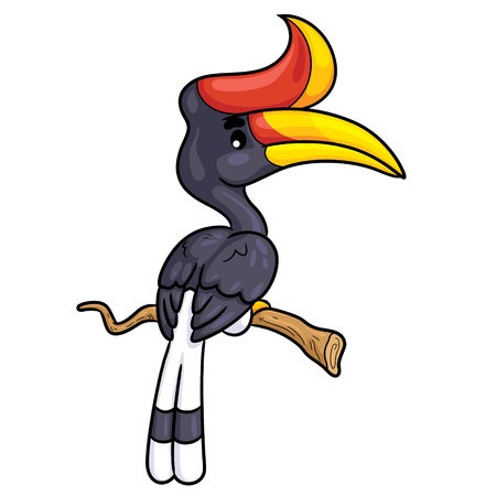 Illustration of cute cartoon rhinoceros hornbill. Ilustração