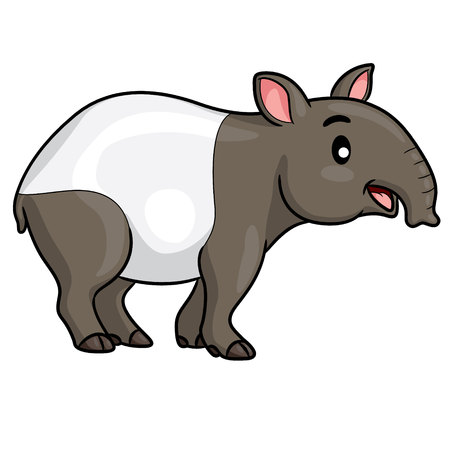 Illustration of cute cartoon tapir.