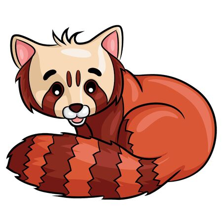 Illustration of cute cartoon red panda. Ilustração