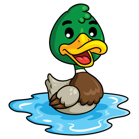 Illustration of cute cartoon duck.