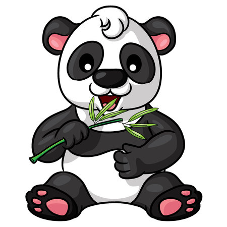 Illustration of cute cartoon panda.