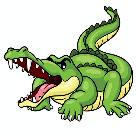 Illustration of cute cartoon crocodile.