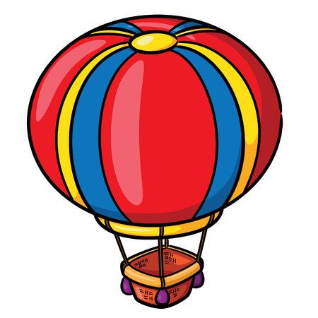 Illustration of cute cartoon air balloon. Vector illustration.