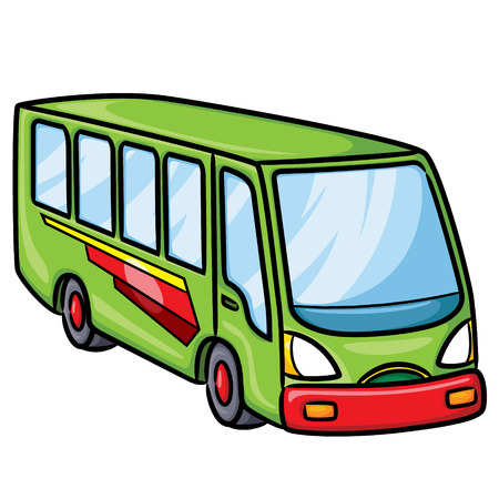 Illustration of cute cartoon bus. Vector illustration.