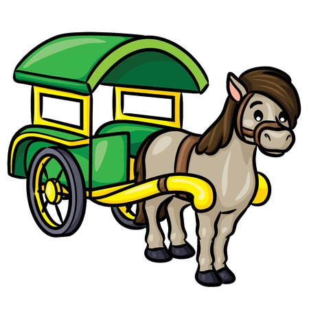 Illustration of cute cartoon carriage.