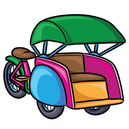 Illustration of cute cartoon pedicab. Vector illustration.