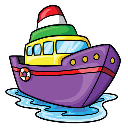 Illustration of cute cartoon ship. Ilustração