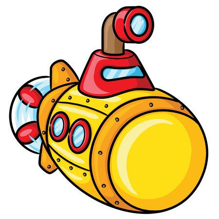 Illustration of cute cartoon submarine.