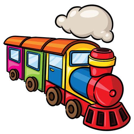かわいい漫画鉄道のイラスト。  イラスト・ベクター素材