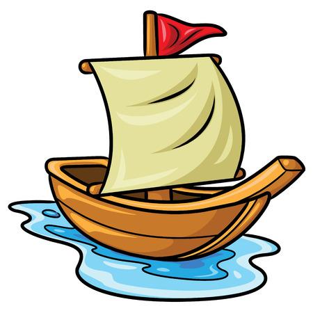 Illustration of cute cartoon sailboat. Stock Illustratie