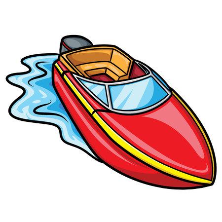 Illustration von niedlichen Cartoon-Motorboot. Standard-Bild - 86139521
