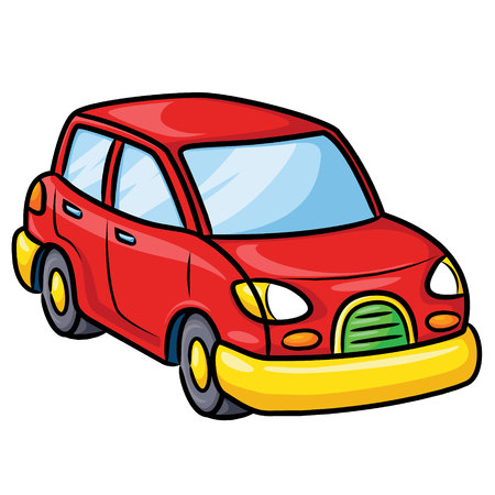 Illustration of cute cartoon car.