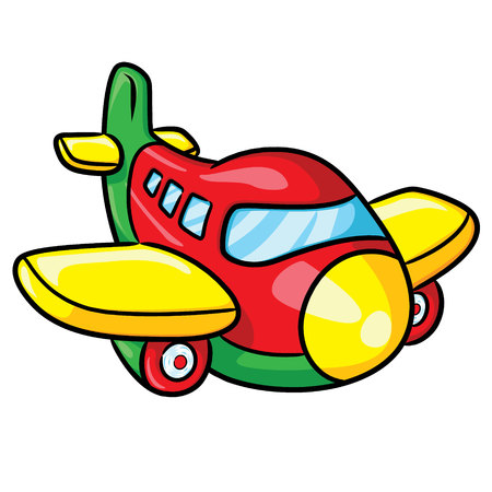 Illustration of cute cartoon airplane.