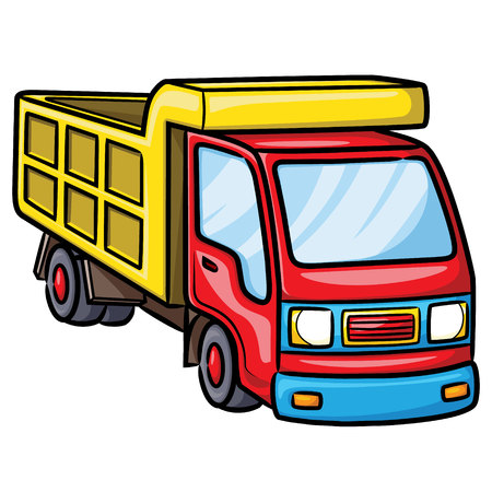 Illustration of cute cartoon truck.