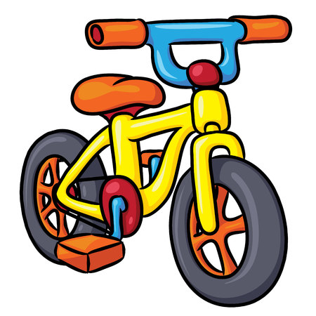 Illustration of cute cartoon bicycle. Ilustração