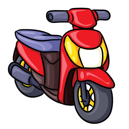 Illustration of cute cartoon motorcycle.